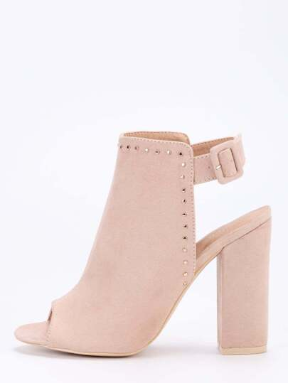 Faux Suede Studded High Vamp Peep Toe Heels - Apricot