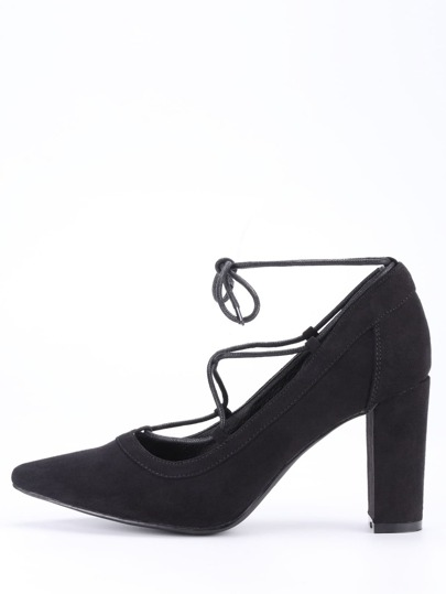 Faux Suede Lace-Up Pointed Toe Heels - Black
