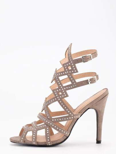 Faux Suede Caged Studded Sandals - Brown