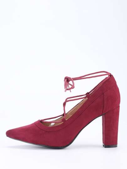 Faux Suede Lace-Up Pointed Toe Heels - Burgundy
