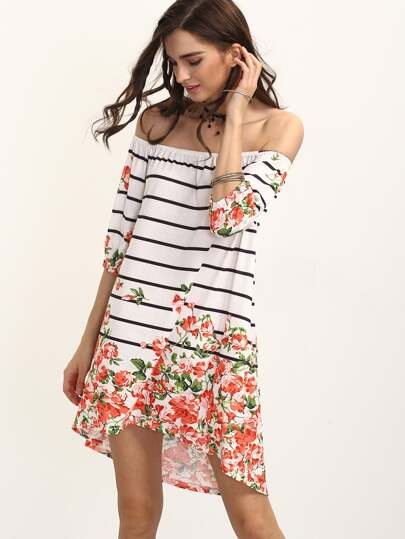Multicolor Floral Striped Off The Shoulder Asymmetrical Dress