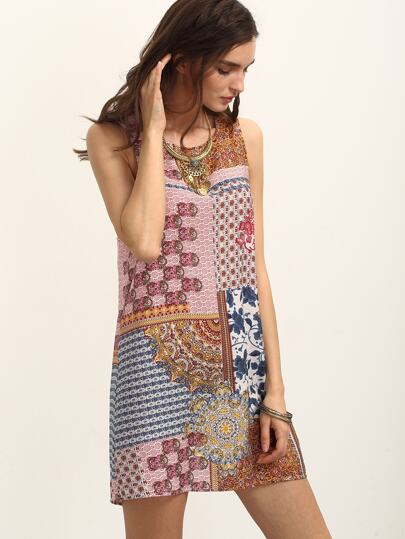 Multicolor Print Sleeveless Tie Back Shift Dress