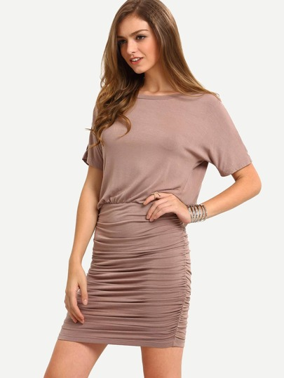 Light Brown Short Sleeve Open Back Bodycon Dress