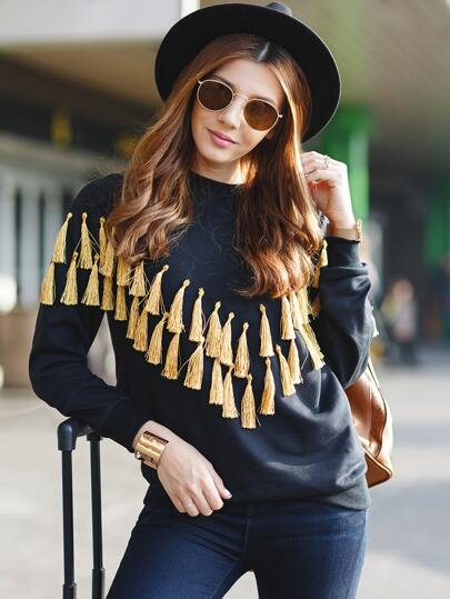 Black Long Sleeve Tassel Sweatshirt