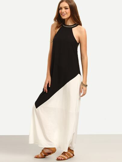 White Black Contrast Cutaway Keyhole Back Maxi Dress