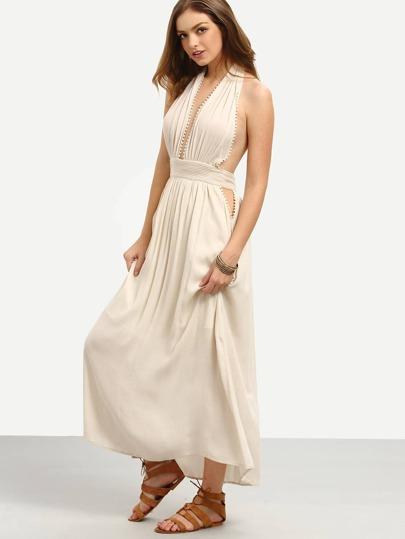 Apricot Deep V Neck Halter Neck Pleated Maxi Dress
