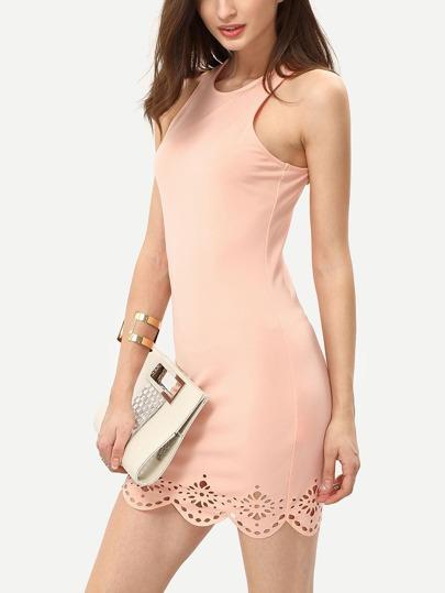 Peach Turtle Neck Elasticated Sleeveless Bodycon Dress