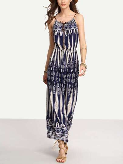 Blue Tie-Neck Tribal Print Cami Long Dress