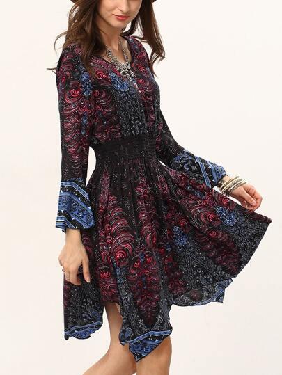 Abstract Print Shirred Waist Asymmetric Dress