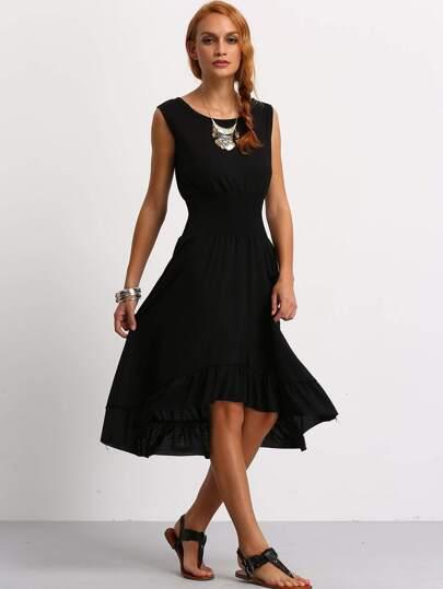 Smock Waist Ruffle Hem Asymmetrical Sleeveless Dress