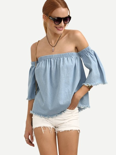Blue Off The Shoulder Raw Trim Blouse
