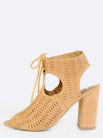 Block Heel Cut Out Ankle Boots TOFFEE