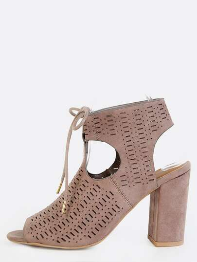 Peep Toe Cut Out Chunky Heel Boots TAUPE