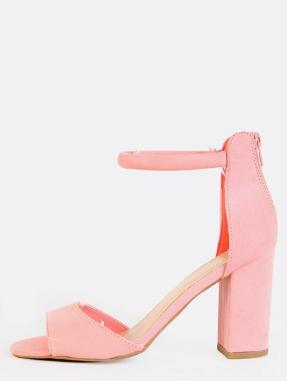 Faux Suede Single Strap Chunky Heels ROSE PINK