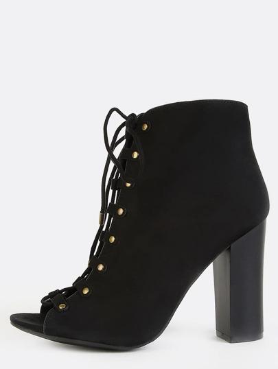 Studded Peep Toe Chunky Heel Booties BLACK