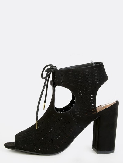Peep Toe Perforated Ankle Booties BLACK