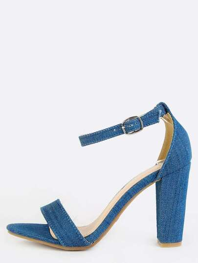 Denim Open Toe Chunky Heels DENIM
