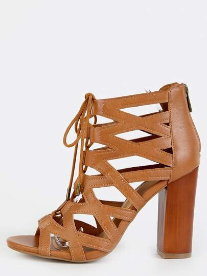 Caged Strappy Chunky Heel Booties TAN