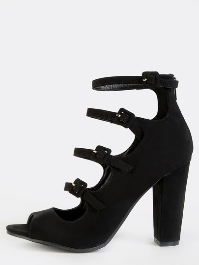 Faux Suede Cut Out Chunky Heels BLACK