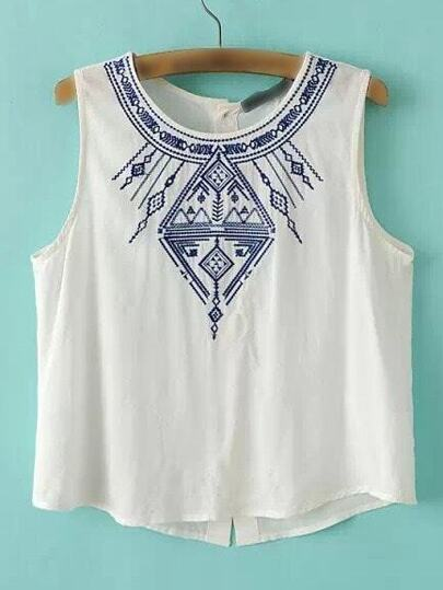 White Sleeveless Embroidery Buttons Back Tank Top