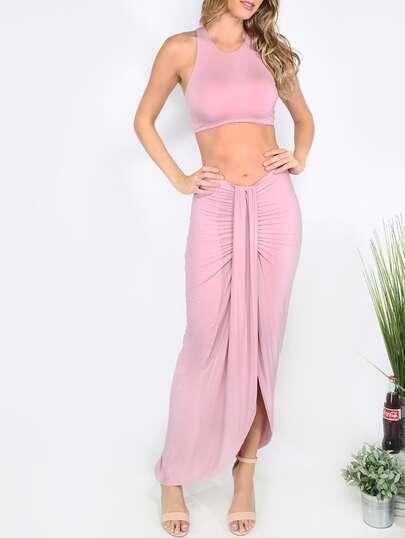 Pink Sleeveless Sheath Maxi Twopieces
