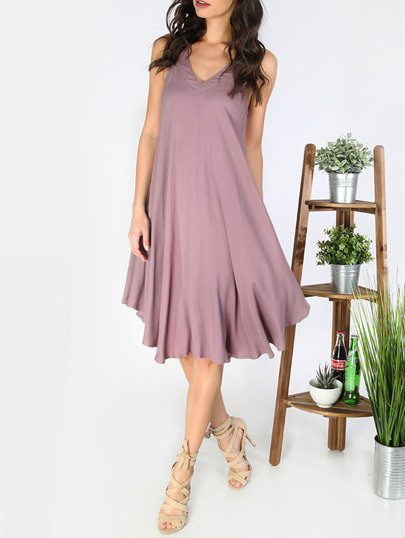 Light Purple Asymmetric Open Back Shift Dress