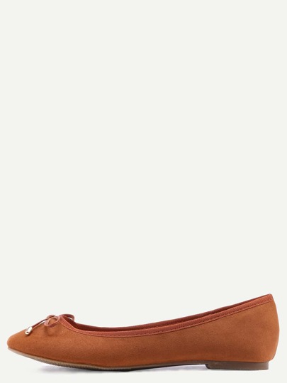 Faux Leather Bow Tie Ballet Flats - Camel