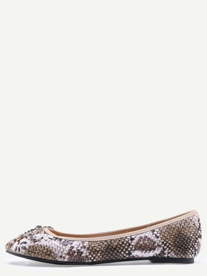 Snake Embossed Bow Tie Ballet Flats - Bronze