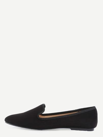 Suede Loafer Flats - Black