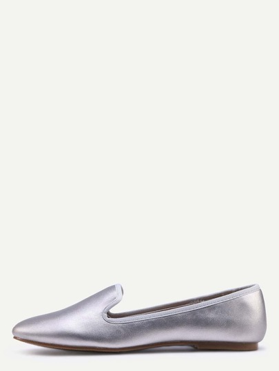 Suede Loafer Flats - Silver