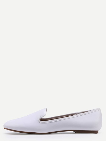 Suede Loafer Flats - White