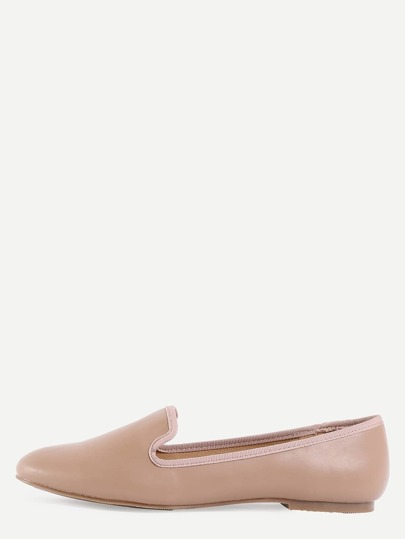Suede Loafer Flats - Apricot