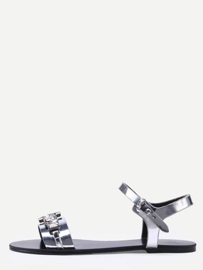 Rhinestone Embellished Faux Leather Sandals - Silver