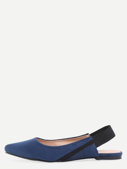 Faux Suede Pointed Toe Slingback Flats - Dark Blue