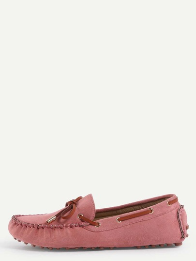 Faux Suede Contrast Bow Tie Loafers - Light Pink