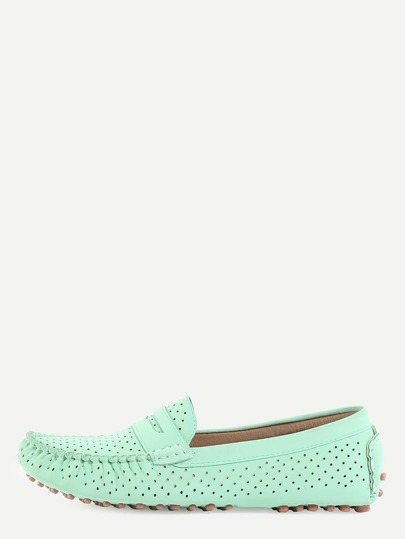 Faux Suede Eyelet Loafers - Light Green