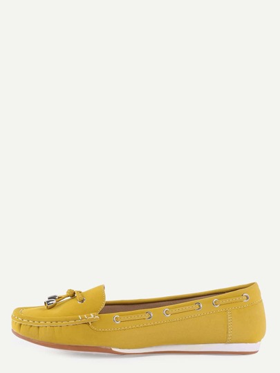 Faux Suede Drawstring Boat Shoes - Yellow