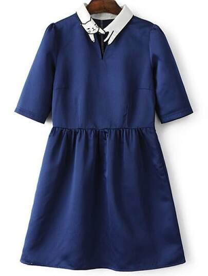 Deep Blue Lapel Cat Embroidery Zipper Dress
