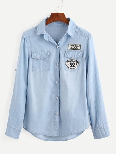 Embroidered Patch Light Blue Denim Blouse