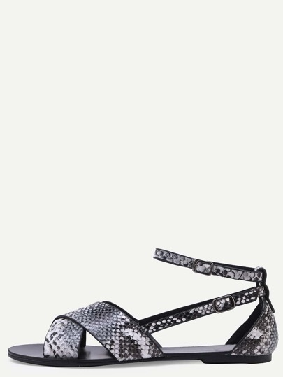 Snake Embossed Faux Leather Crisscross Sandals - Black