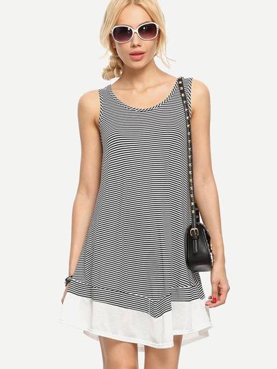 Black Striped Sleeveless Ruffle Dress