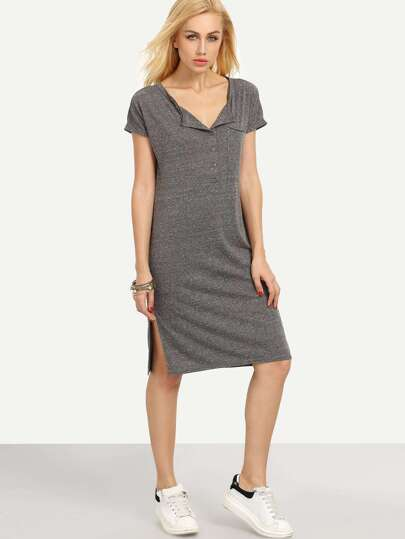 Grey Short Sleeve Button Split Dress