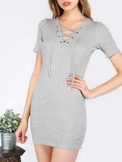 Gray Short Sleeve Lace Up Dress