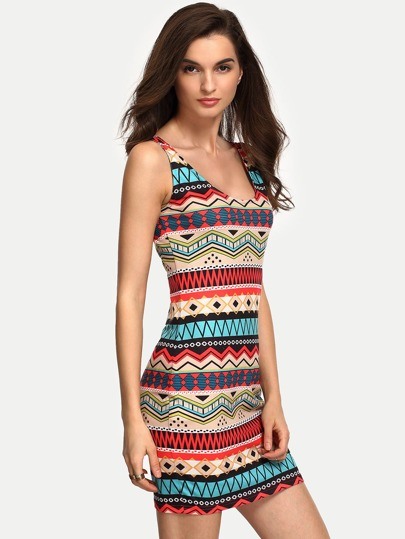 Multicolor Scoop Neck Sleeveless Print Bodycon Dress