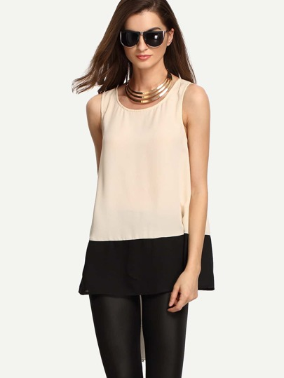 Colorblock Round Neck Loose Vest