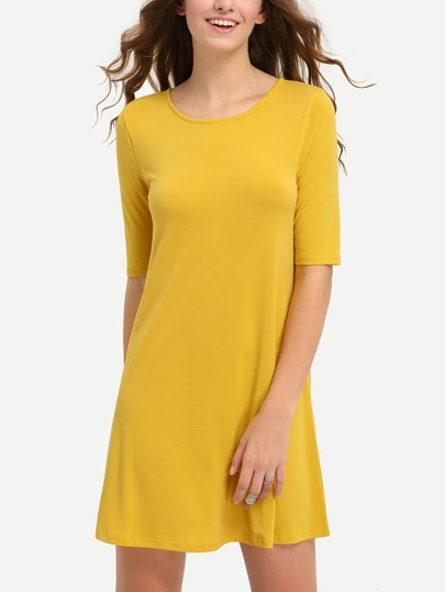 Yellow Half Sleeve Hollow Back Dress