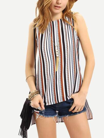Striped Split Side Sleeveless Blouse