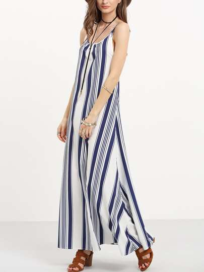Multicolor Striped Open Back Maxi Dress