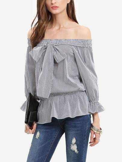 Black Off The Shoulder Bow Tie Striped Blouse