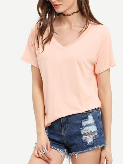 Light Pink V Neck Casual T-shirt